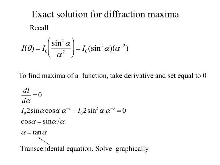 Exact solution for diffraction maxima