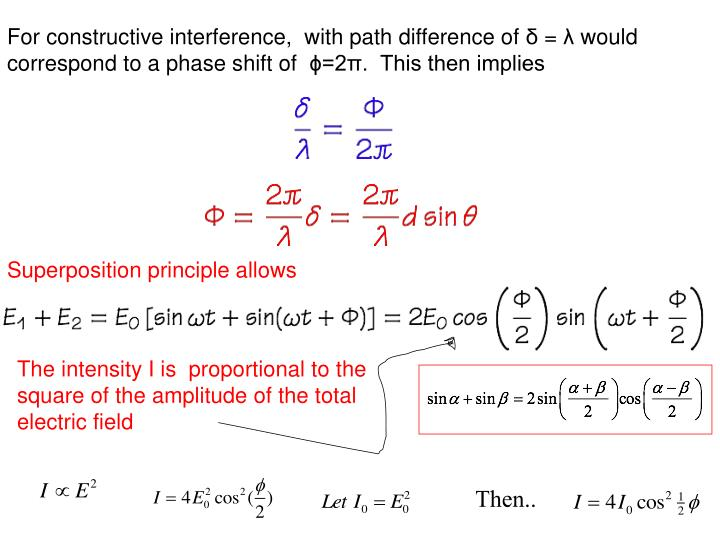 For constructive interference,  with path difference of