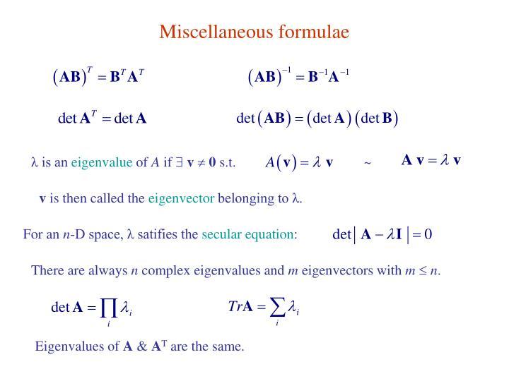Miscellaneous formulae