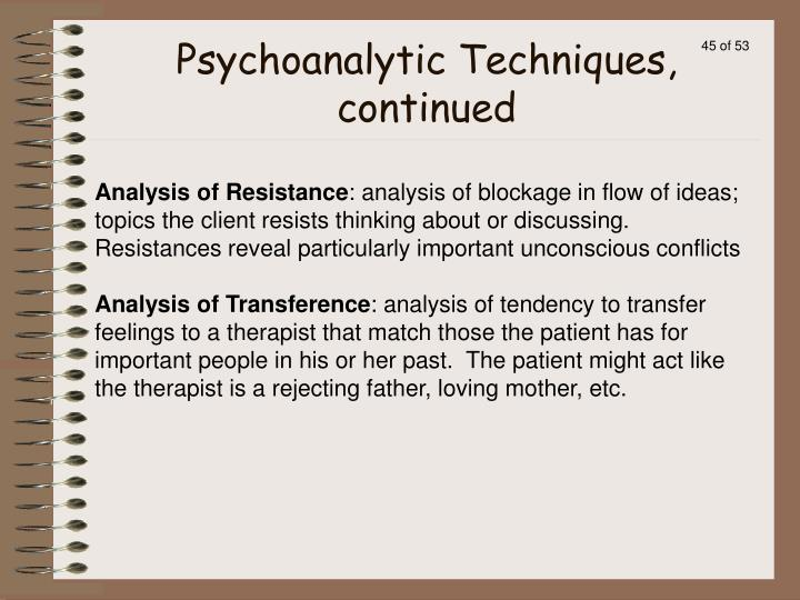 Psychoanalytic Techniques, continued