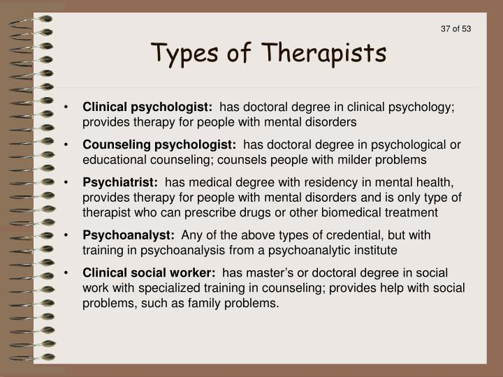 Types of Therapists