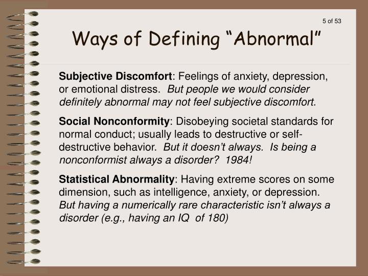 "Ways of Defining ""Abnormal"""