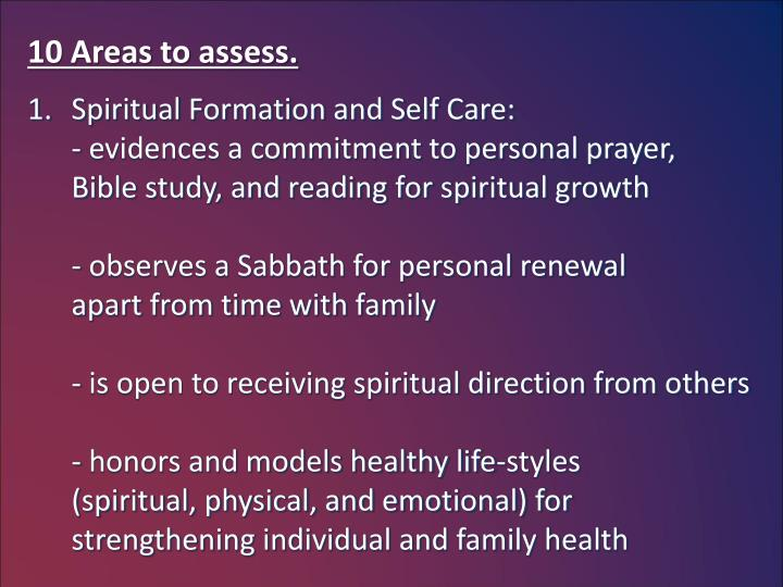 10 Areas to assess.
