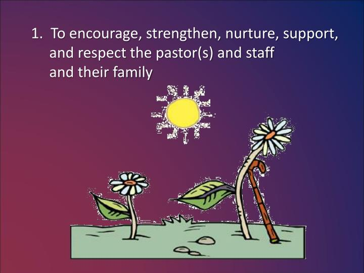 1.  To encourage, strengthen, nurture, support,