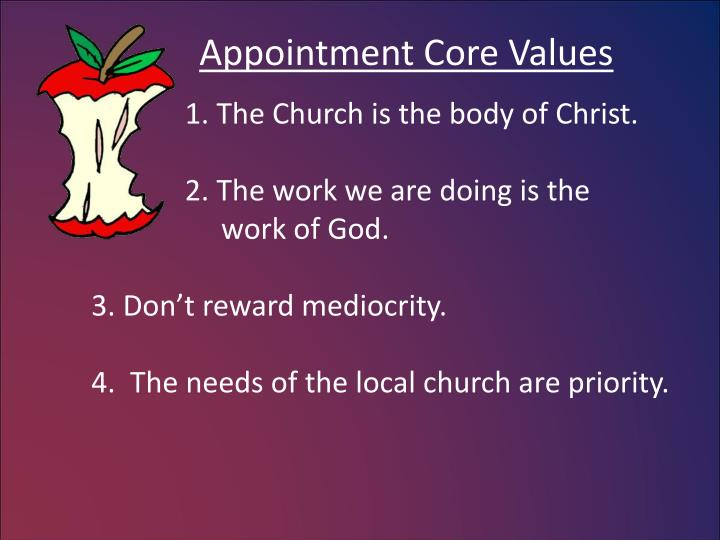 Appointment Core Values