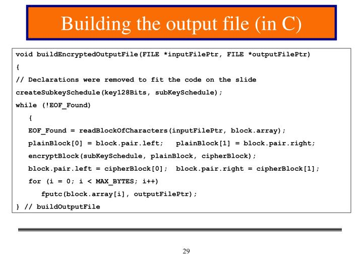 Building the output file (in C)