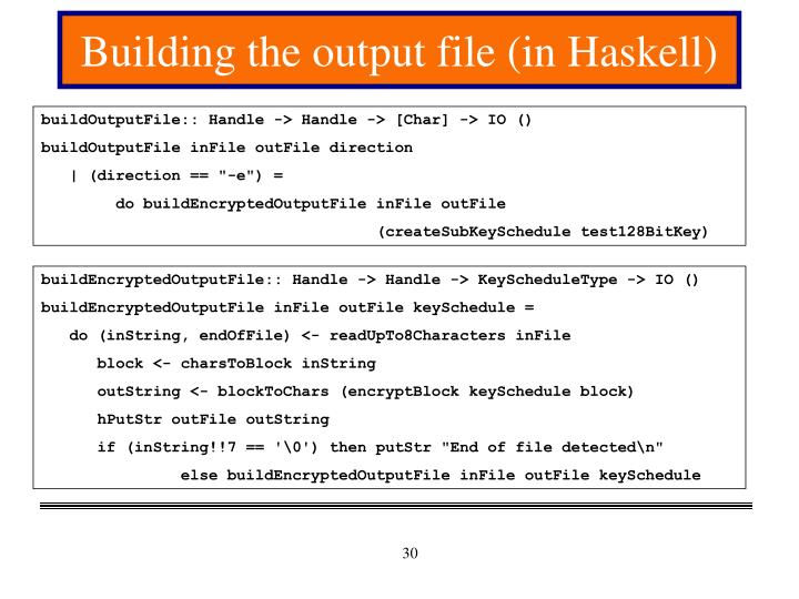 Building the output file (in Haskell)