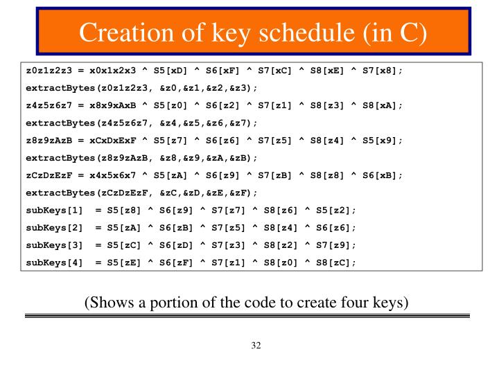 Creation of key schedule (in C)