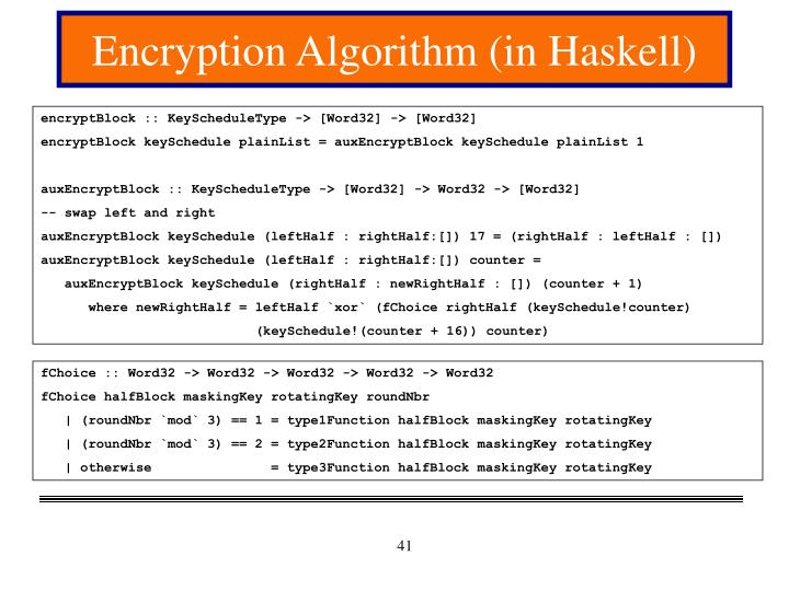 Encryption Algorithm (in Haskell)