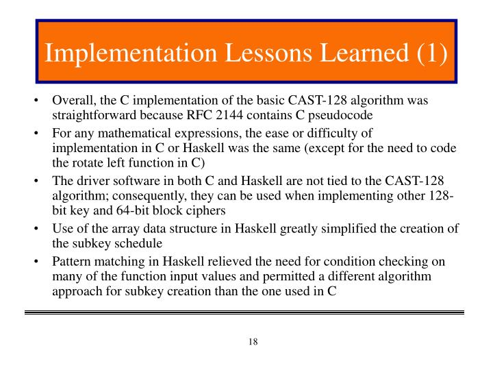 Implementation Lessons Learned (1)