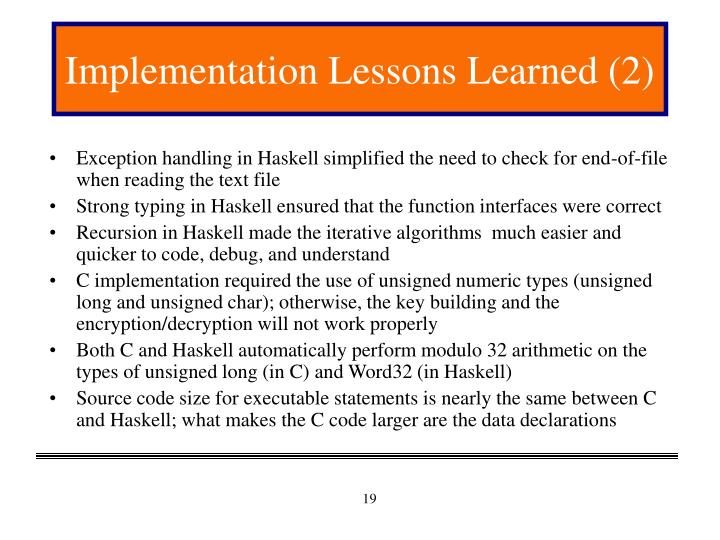 Implementation Lessons Learned (2)