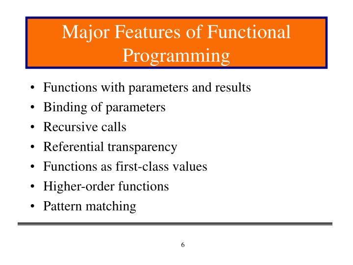 Major Features of Functional Programming