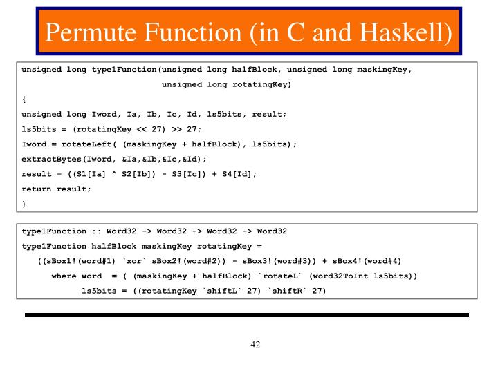 Permute Function (in C and Haskell)