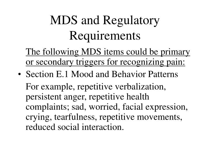 MDS and Regulatory Requirements
