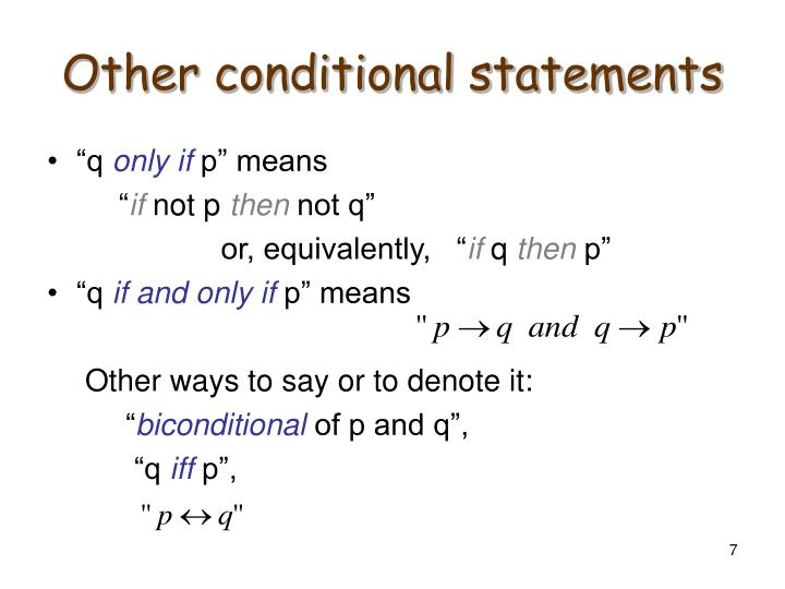 Other conditional statements