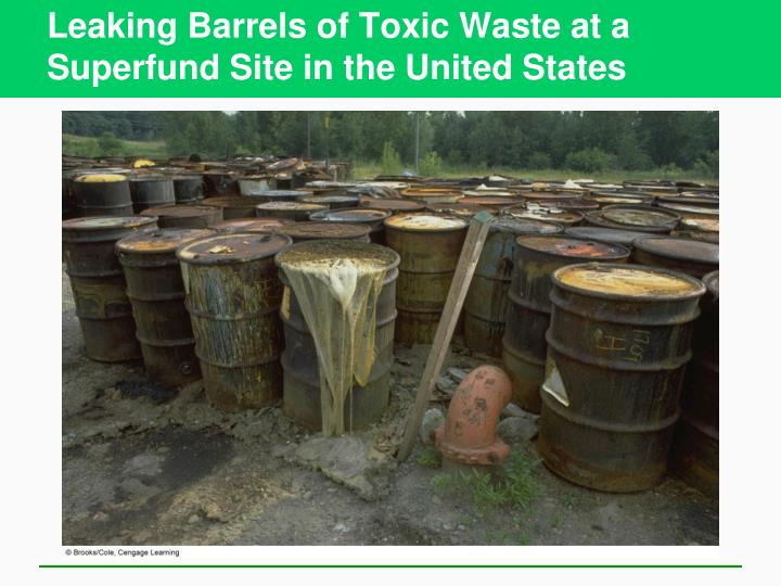 Leaking Barrels of Toxic Waste at a Superfund Site in the United States