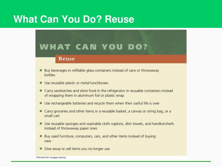 What Can You Do? Reuse