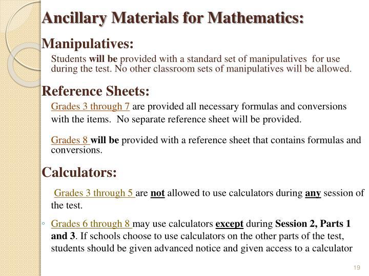 Ancillary Materials for Mathematics: