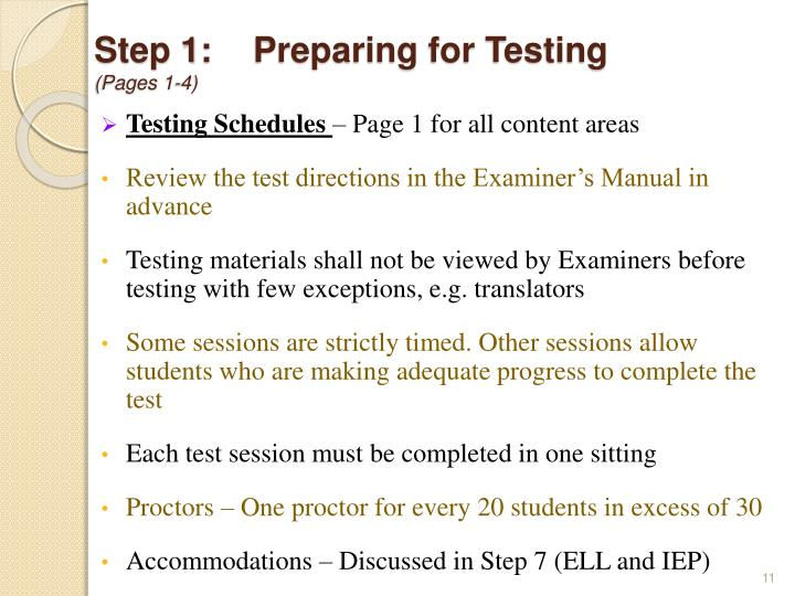 Step 1:Preparing for Testing