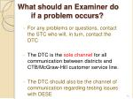 what should an examiner do if a problem occurs