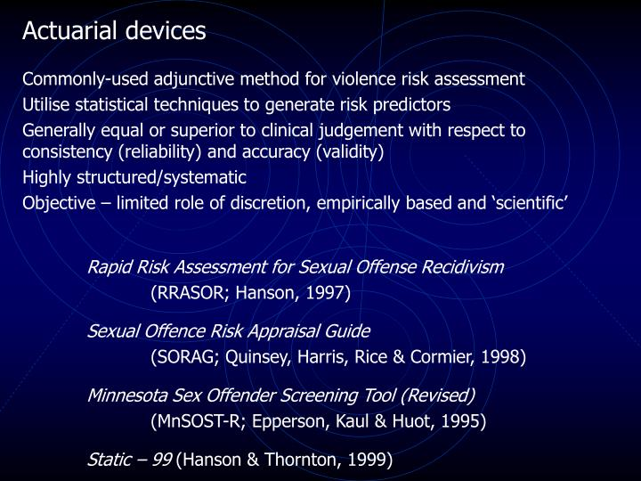 Actuarial devices