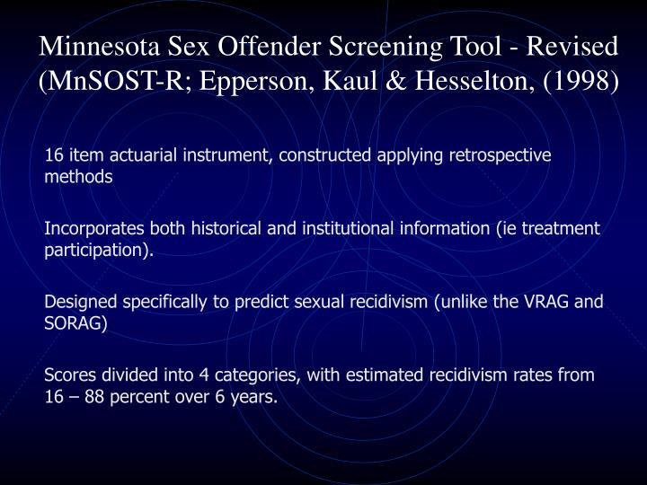 Minnesota Sex Offender Screening Tool - Revised