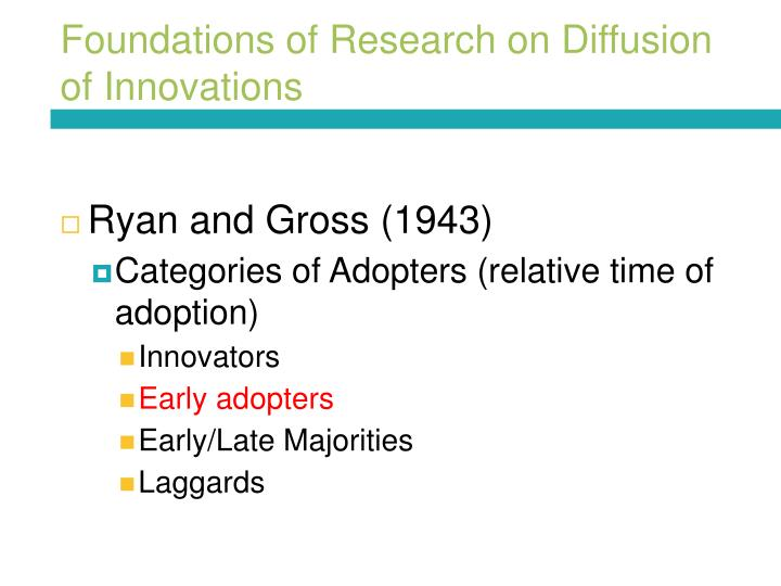Foundations of Research on Diffusion of Innovations