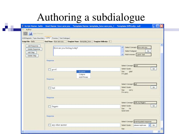Authoring a subdialogue