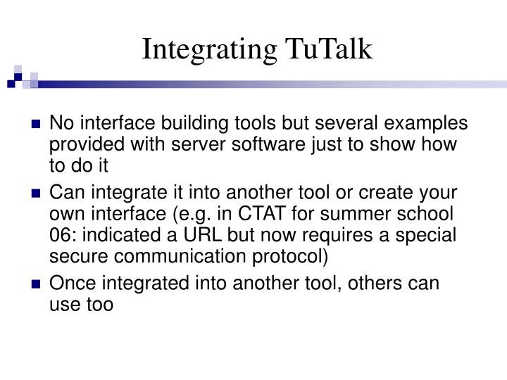 Integrating TuTalk