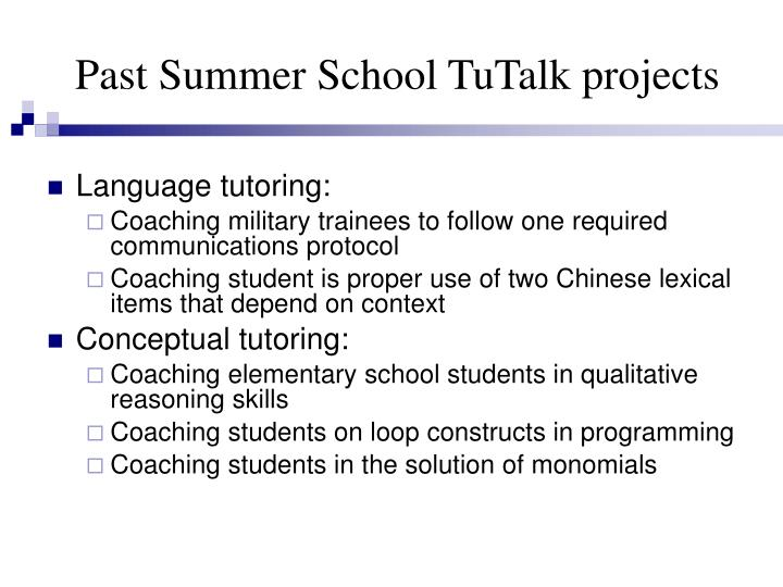 Past Summer School TuTalk projects
