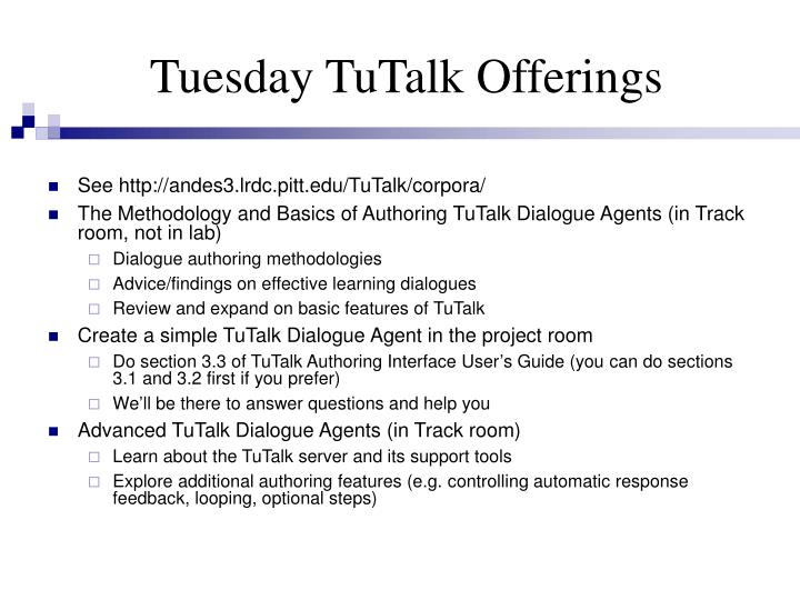 Tuesday TuTalk Offerings
