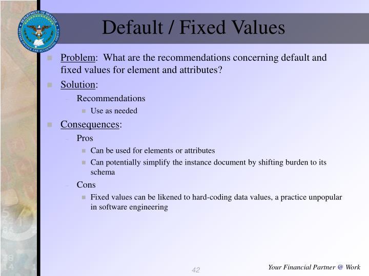 Default / Fixed Values