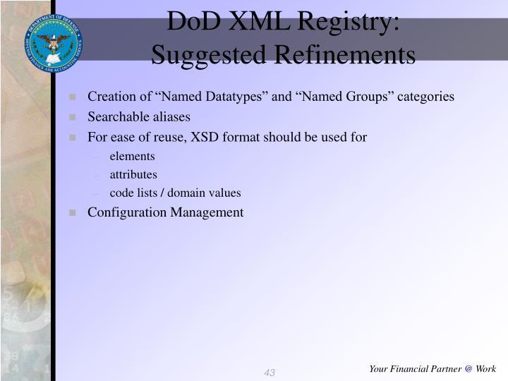 DoD XML Registry: