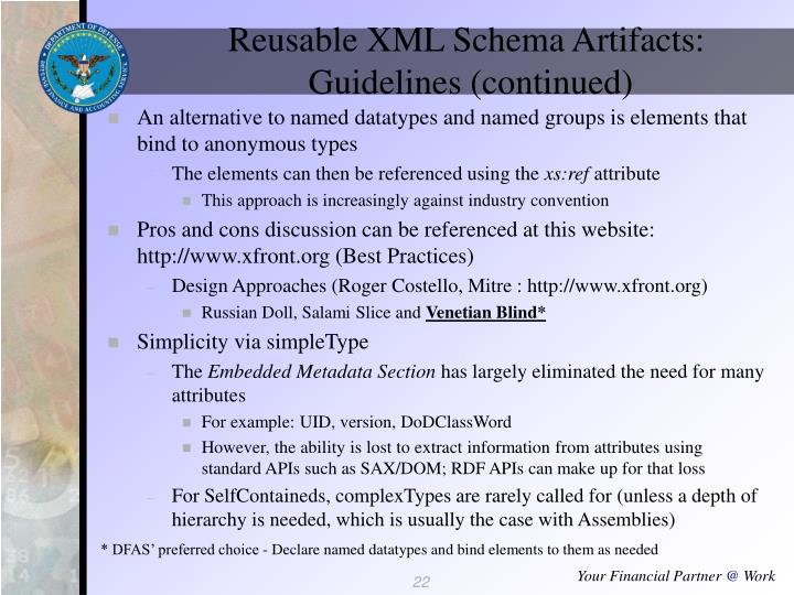 Reusable XML Schema Artifacts: