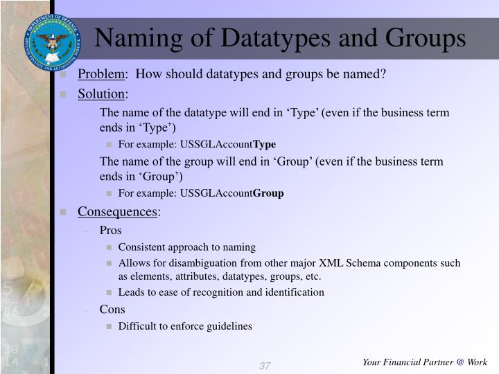 Naming of Datatypes and Groups