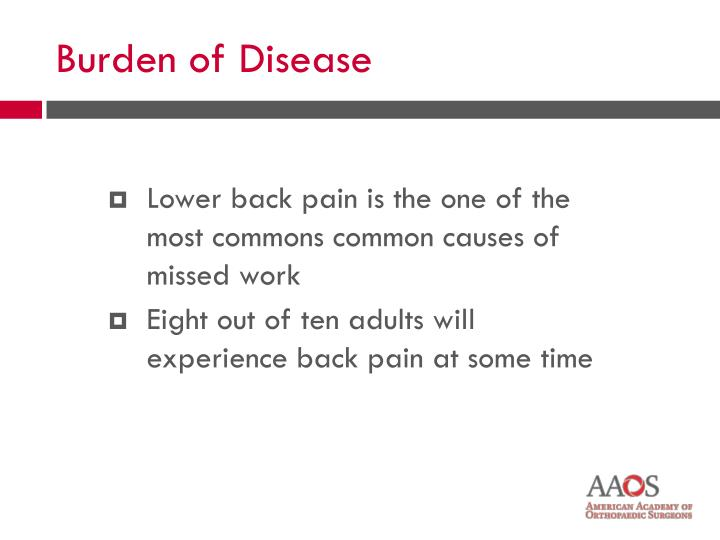 Lower back pain is the one of the most commons common causes of missed work