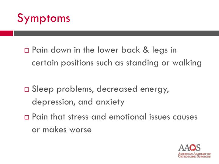 Pain down in the lower back & legs in certain positions such as standing or walking