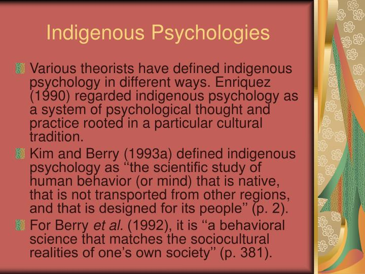 Indigenous Psychologies