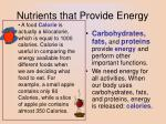 nutrients that provide energy