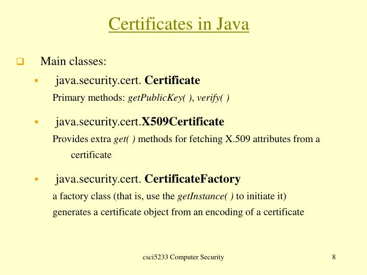Certificates in Java