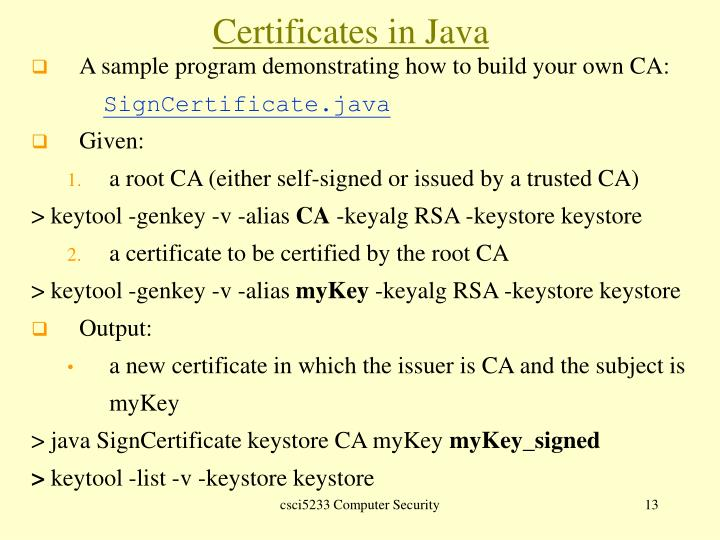 A sample program demonstrating how to build your own CA: