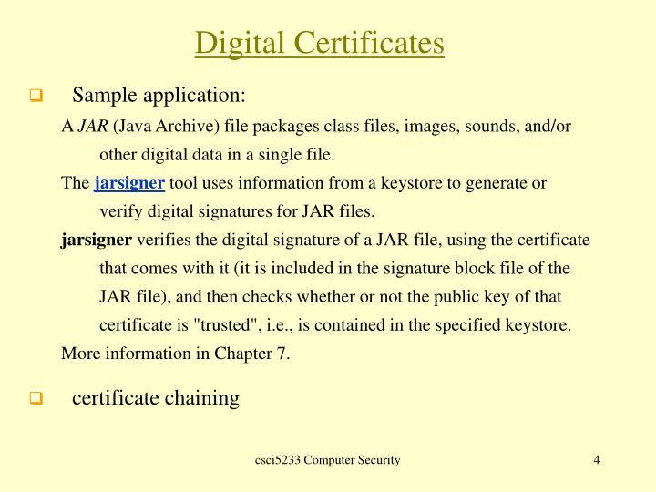 Digital Certificates