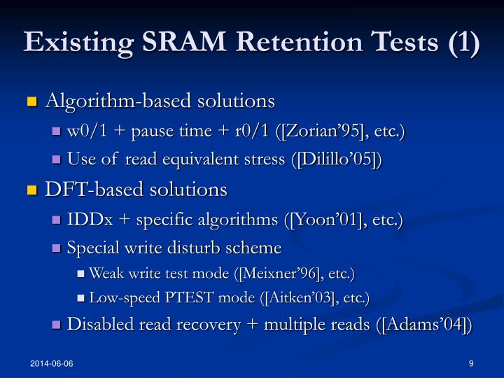 Existing SRAM Retention Tests (1)