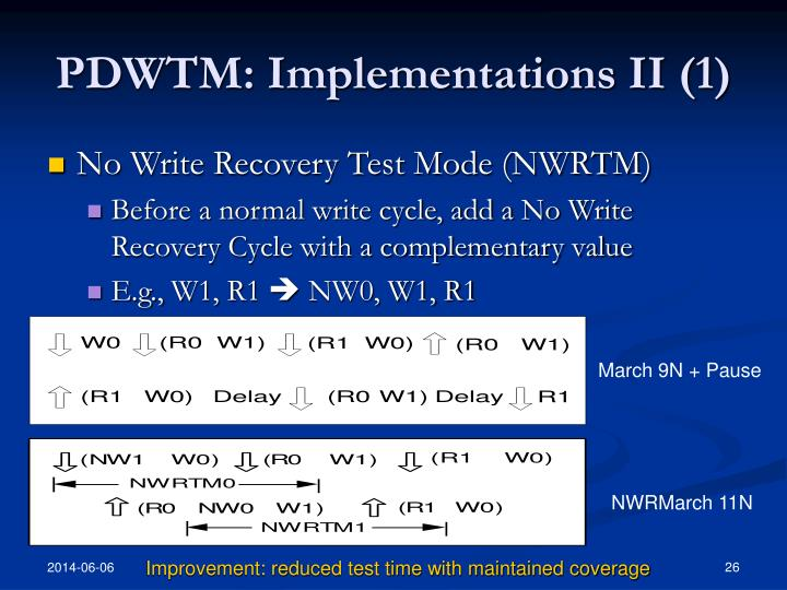 PDWTM: Implementations II (1)