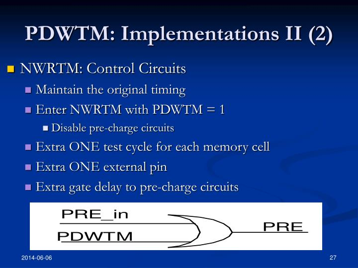 PDWTM: Implementations II (2)