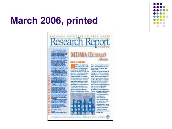March 2006, printed