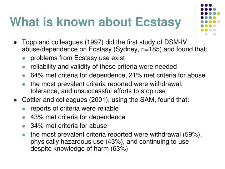 What is known about Ecstasy