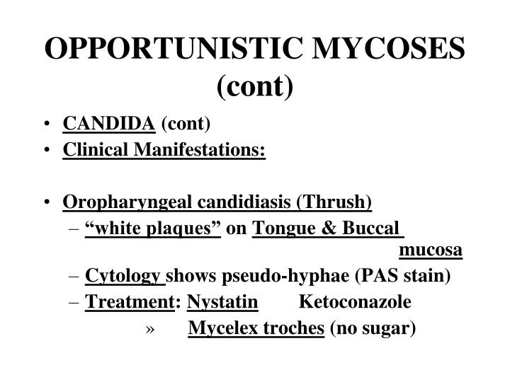 OPPORTUNISTIC MYCOSES (cont)