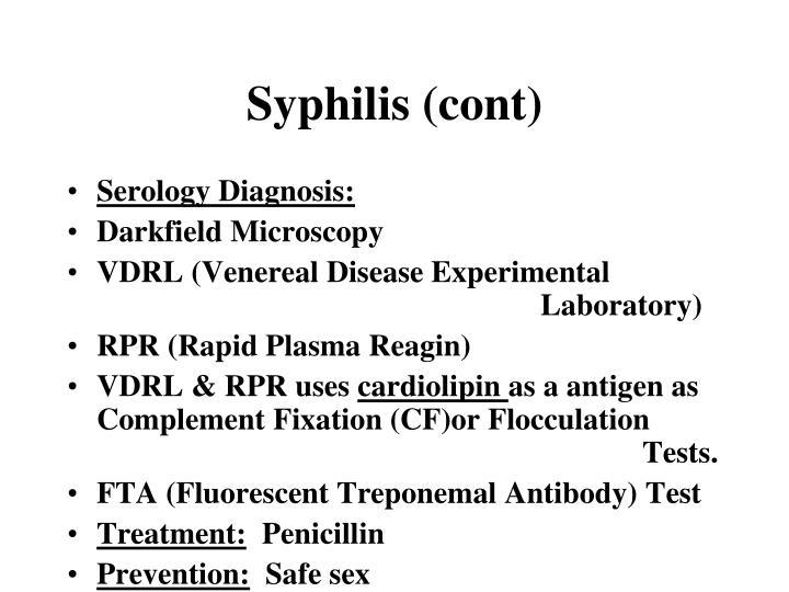 Syphilis (cont)