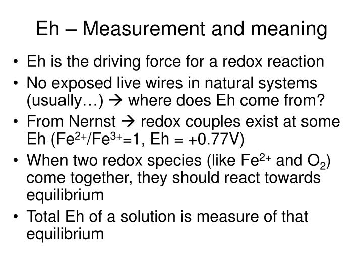 Eh measurement and meaning